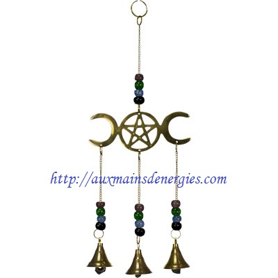 "HANGING BELLS TRIPLE MOON PENTACLE 12"" Item"