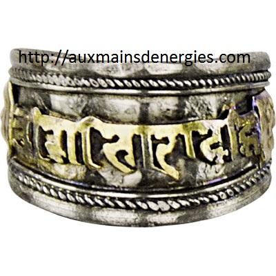 BAGUE-OM MANI PADME-METAL-LAITON AJUSTABLE