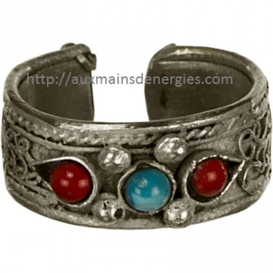 BAGUE-METAL-PIERRE & FILIGRANE (AJUSTABLE) IT