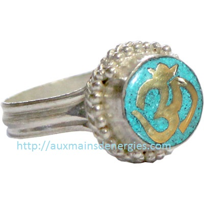 BAGUE-OM & TURQUOISE (AJUSTABLE)  ITEM # 9532
