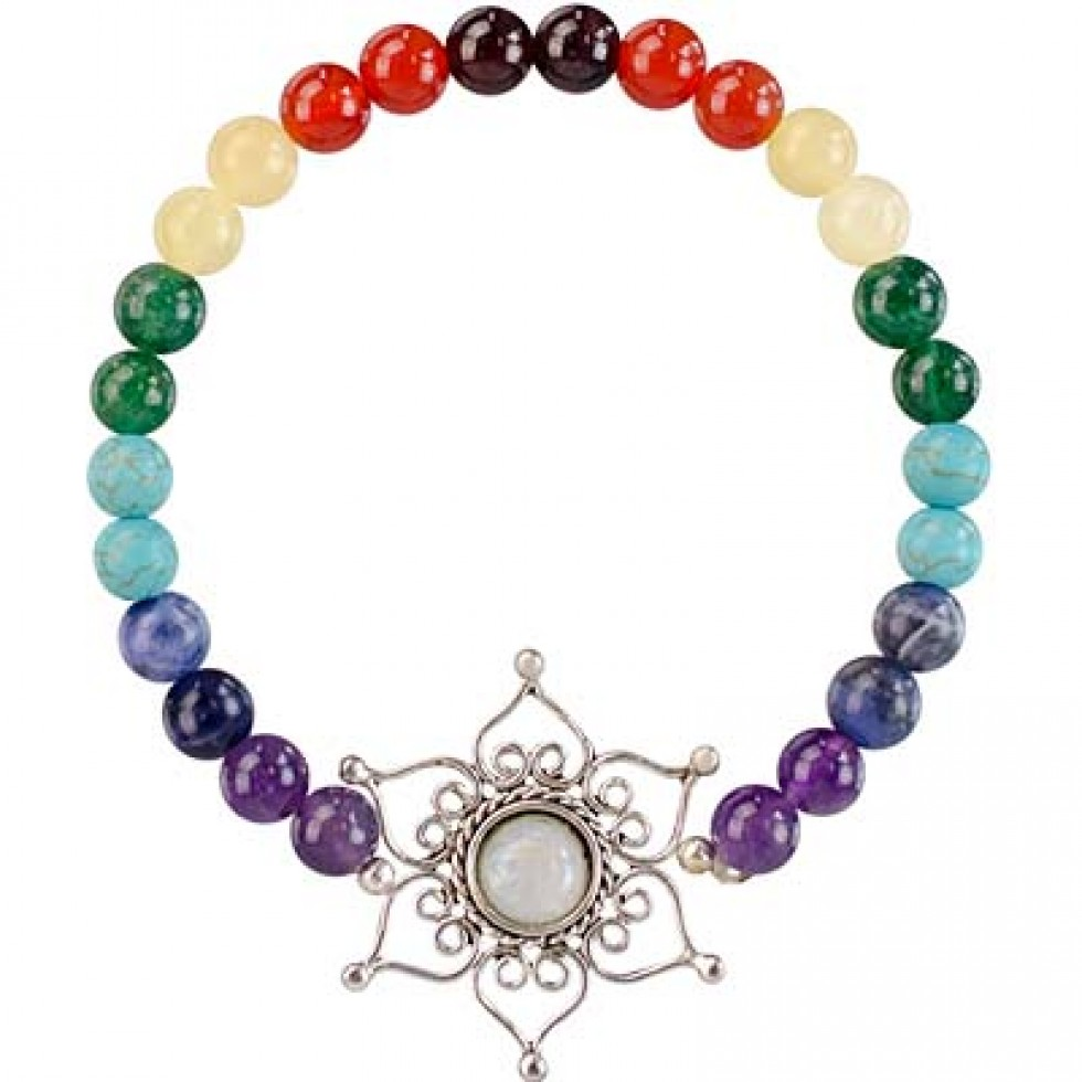 Bracelet 7 Chakra W Lotus Flower