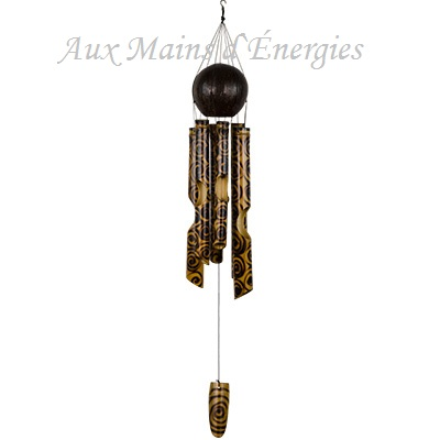 """CARILLON-BAMBOO NOIX-COCO FEUX BRULE 27 """""""