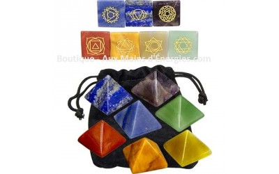 Set of Pyramids - Engraved Stone - Chakra 7