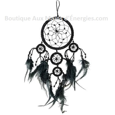 DREAMCATCHER-BLACK BEADS-4.5″DI.