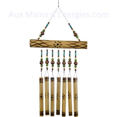 Bamboo windchime/fire burned single row and coloured beads.