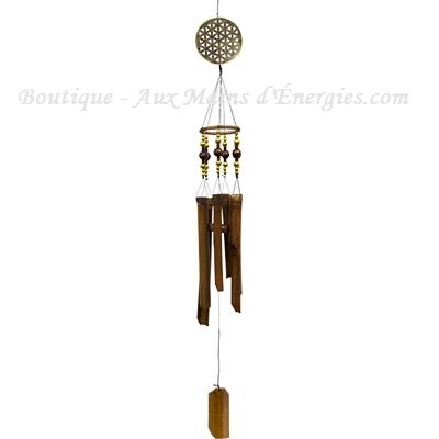 Bamboo windchim and flower of life + gold beands