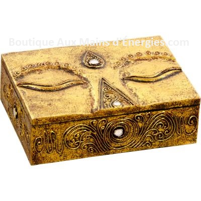 BOX CARVED WOOD - EYES OF BUDDHA