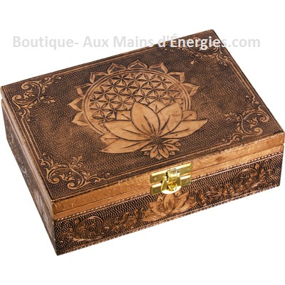 Gorgeous bronze metal jewelry box / chest - Flower of Life