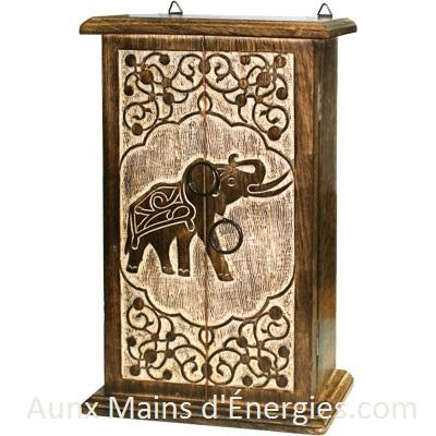 COFFRE EN BOIS-ELEPHANT SACRÉ 2 PORTES