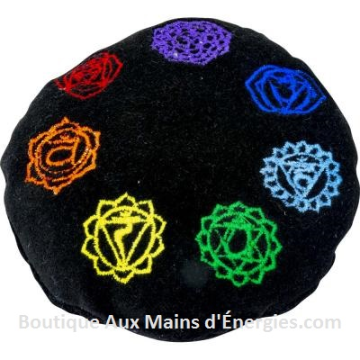 SINGING BOWL CUSHION – 7 CHAKRAS – BLACK – 4.5″DIA.