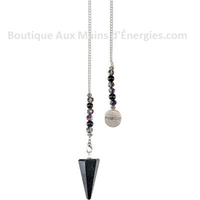 PENDULE – PIERRE POLIE HEXAGONAL - OBSIDIENNE NOIRE – PROTECTION