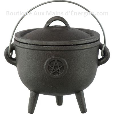 "BLACK CAST IRON + PENTACLE - 4.25 ""DIAMETER."