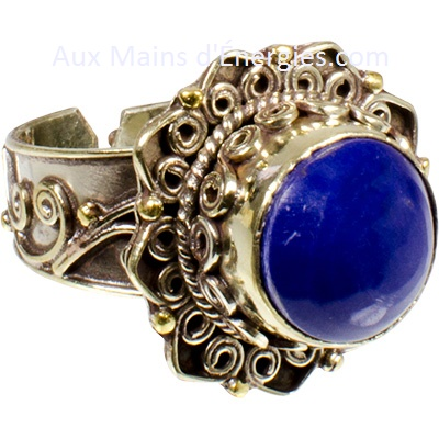 BAGUE-LOTUS LAPIS (AJUSTABLE)