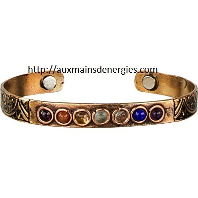 Bracelet / copper jewelry - with magnetic chakras stone ideal for inflammatory problems, arteritis etc.